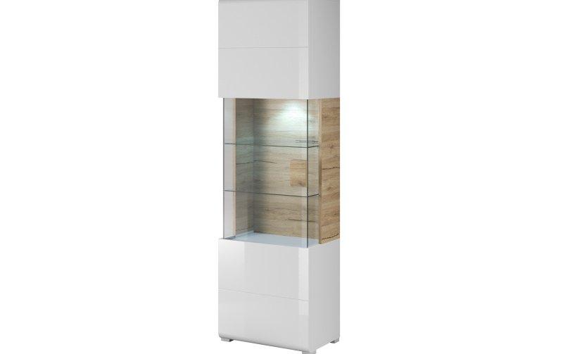 Vysoká vitrína TOLEDO dub San Remo/bílý lesk