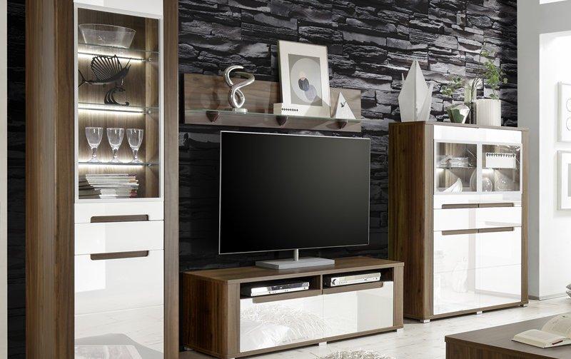 Moderní obývací stěna NEAPOLI 1 horský ořech/bílý lesk