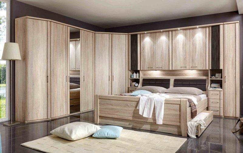 Moderní ložnice s nástavbou nad postelí LUXOR 2 dub sonoma