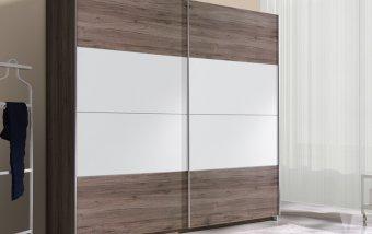 Šatní skříň s posuvnými dveřmi BETA - Dub San Remo tmavý/bílá