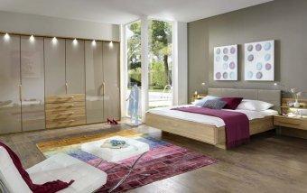 Dubová ložnice TORINO 1 dub masiv/dubová dýha/sklo sahara