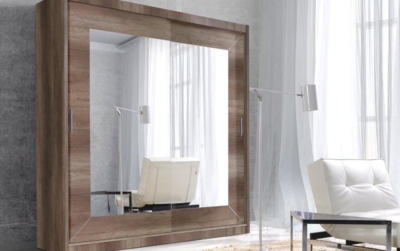 Šatní skříň s posuvnými dveřmi se zrcadlem ALFA - dub country