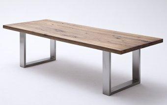 Jídelní stůl CASTELLO tmavý dub bassano masiv/leštěná ocel