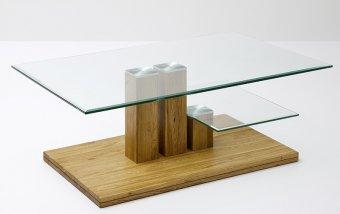 Konferenční stolek PACO dub masiv/sklo
