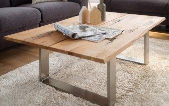 Konferenční stolek z masivu SAGANO dub burgundský/leštěná ocel