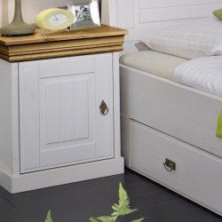 Noční stolek z masivu zásuvková bílá/medová ROM 2