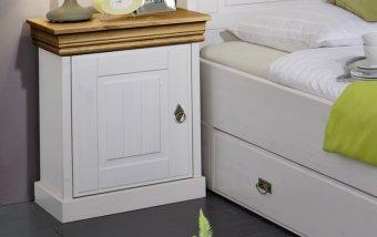 Noční stolek z masivu bílá/medová ROM 2