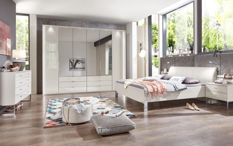 Luxusní ložnicová sestava KANSAS bílá champagne/sklo
