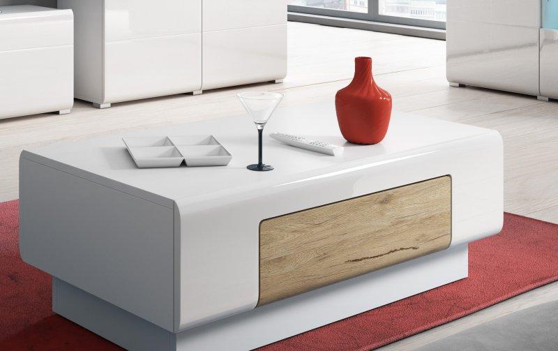 Konferenční stolek TOLEDO dub San Remo/bílý lesk