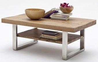 Konferenční stolek z masivu CASTELLO dub bassano/leštěná ocel