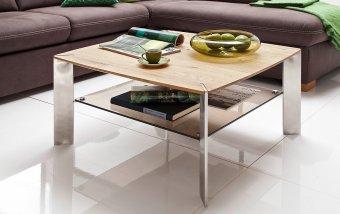 Konferenční čtvercový stolek z masivu NELIA dub přírodní/leštěná ocel