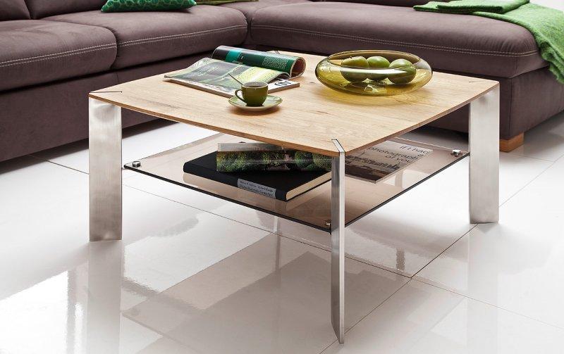 Konferenční stolek z masivu NELIA dub přírodní/leštěná ocel