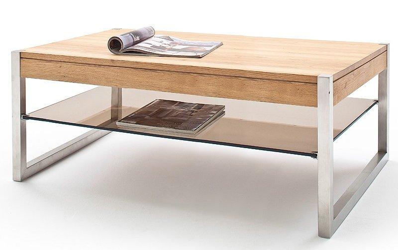 Konferenční stolek z masivu MIGEL dub přírodní/leštěná ocel