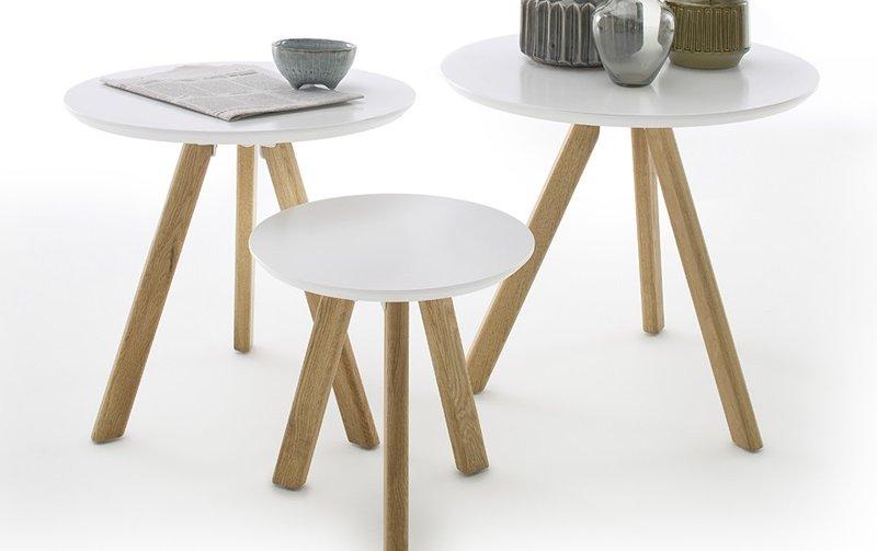 Sada tří konferenčních stolků ve skandinávském stylu SINIO dub přírodní/bílá