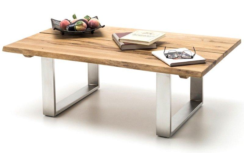 Konferenční stolek z masivu SANDRO dub přírodní/leštěná ocel