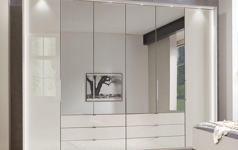 Luxusní skříň se zrcadlem KANSAS bílá champagne/sklo