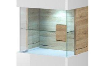 Závěsná vitrína TOLEDO dub San Remo/bílý lesk