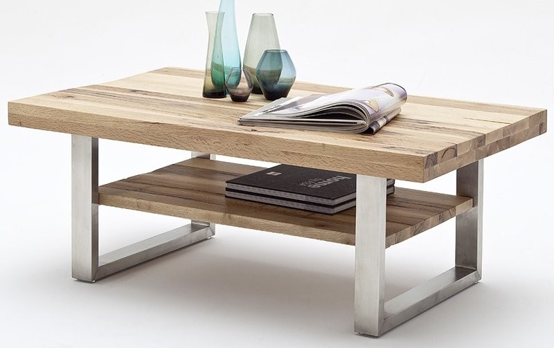 Konferenční stolek z masivu CASTELLO dub divoký/leštěná ocel