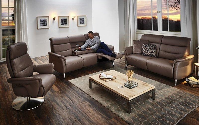 Luxusní kožená sedací souprava s funkcí relax 3+2,5+TV křeslo ARKADIA