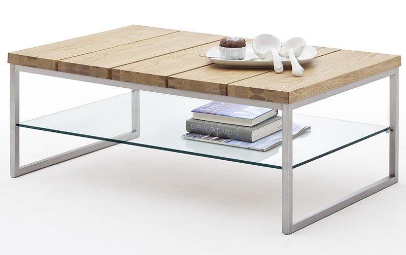 Konferenční stolek z masivu NORGE dub přírodní/leštěná ocel