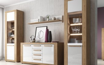 Moderní obývací stěna LUMI dub Beaufort/bílý lesk
