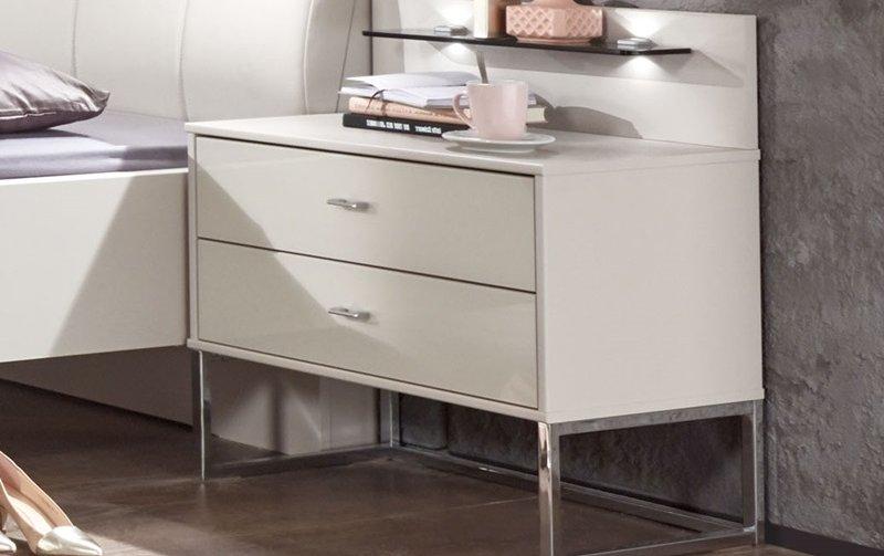 Noční stolek se zásuvkami KANSAS bílá champagne