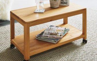 Dřevěný stolek na kolečkách velký KEVIN dub divoký