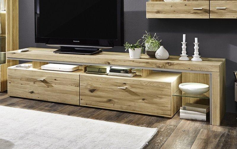 Televizní stolek z masivu BRUNI dub sukatý bělený typ 03