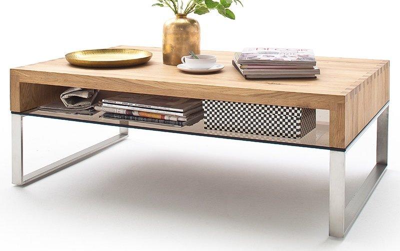 Konferenční stolek z masivu HILARY dub přírodní/leštěná ocel