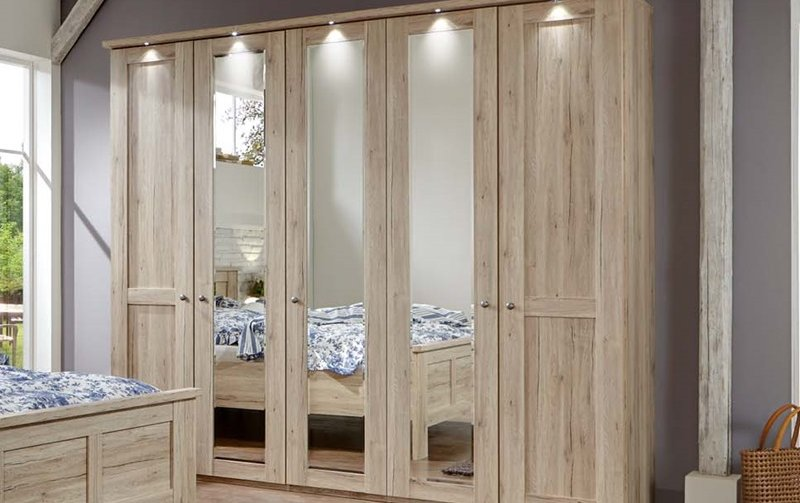 Šatní skříň se zrcadly a osvětlením BERGAMO dub santana