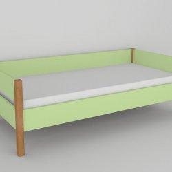 Postel do dětského pokoje 200x90 buk masiv/zelená