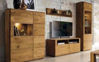 Dubový nábytek z masivu do obývacího pokoje a jídelny - DALLAS 4 dub pálený olejovaný