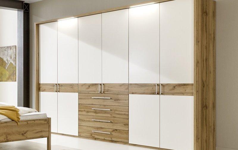 Šatní skříň s křídlovými dveřmi a osvětlením PADUA alpská bílá/dub