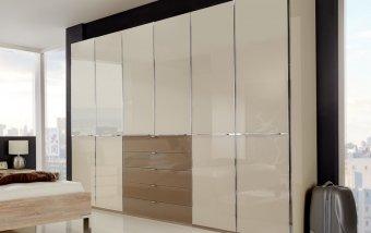 Moderní šatní skříň SHANGHAI dub sonoma/sklo magnolia-sahara