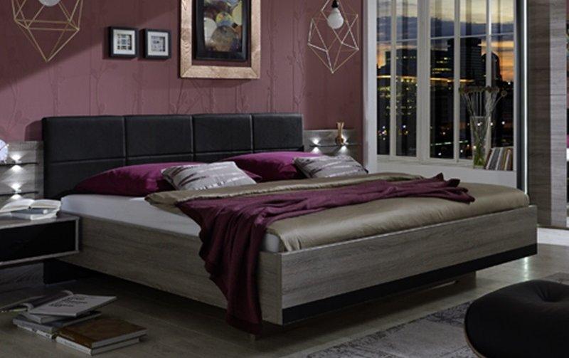 Moderní postel CORONA dub truefel/černá