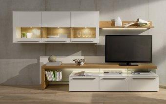 Obývací stěna BELLANO bílý lak/dub medový