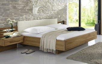 Plovoucí postel TORINO dub masiv/dubová dýha/magnólie