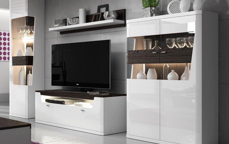 Moderní obývací stěna TORONTO bílá/bílý lesk - čokoláda