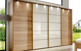 Šatní skříň s posuvnými dveřmi TOLEDO dub/sklo Magnólie