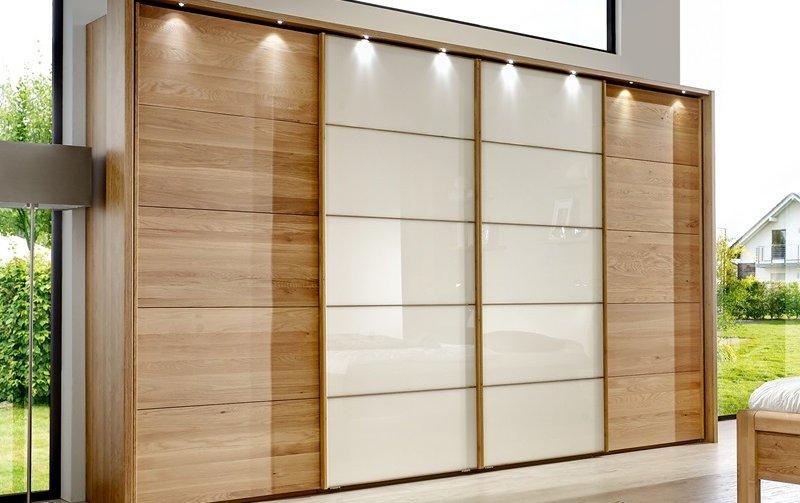 Šatní skříň s posuvnými dveřmi a osvětlením TOLEDO dub/sklo Magnólie