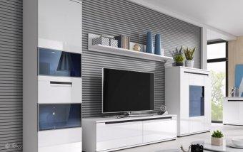 Moderní obývací stěna SORIA bílá/bílý lesk