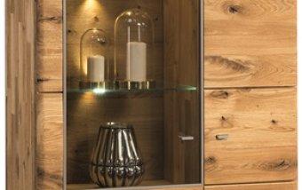 Dubová vitrína z masivu DALLAS dub olejovaný (typ 12)