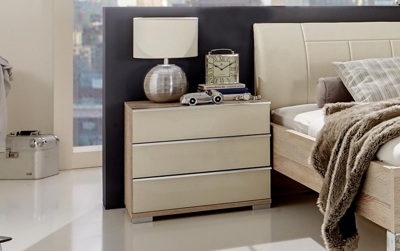Noční stolek SHANGHAI dub sonoma/sklo magnolia