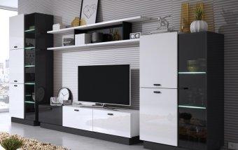 Moderní obývací stěna QUARTZ II bílý lesk/černé sklo