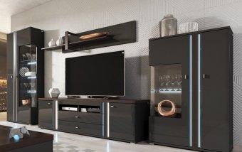 Moderní obývací stěna EVARO šedá/šedý lesk - čokoláda