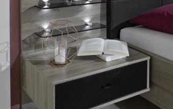Noční stolek CORONA dub truefel/černá