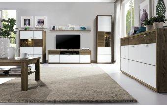 Nábytek do obývacího pokoje ASPEN 2 - dub páleny/bílé sklo