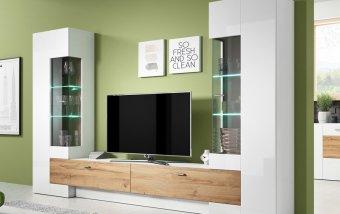Moderní obývací stěna FOSSIL bílý lesk/dub Grandson