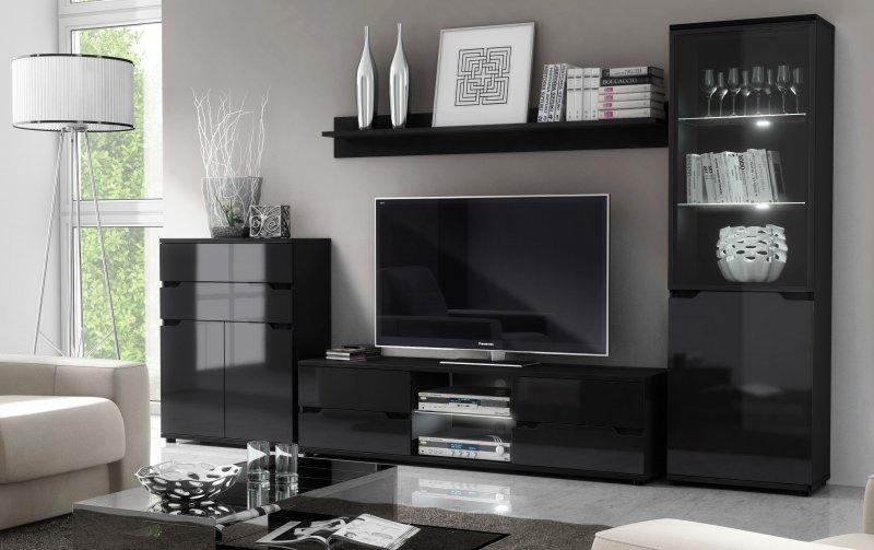 Moderní obývací stěna s LED osvětlením ALASKA 2 černá/černý lesk