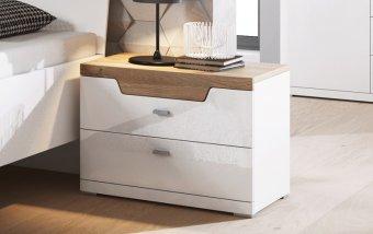 Noční stolek MONTREAL dub Grandson/bílý lesk